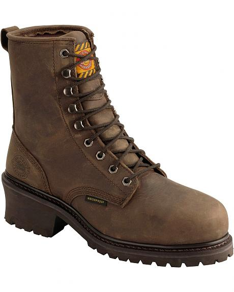 Justin Lace-Up Wyoming Waterproof Logger Work Boots - Round Toe