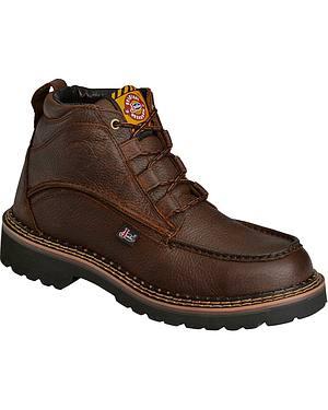 "Justin Rustic Cowhide Chukka 6"" Boots - Steel Toe"