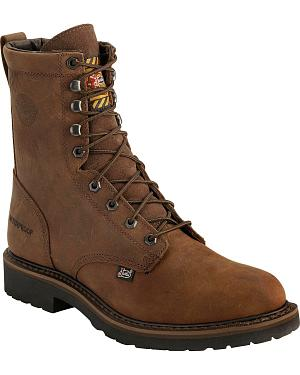 "Justin Wyoming Waterproof 8"" Lace-Up Work Boots - Steel Toe"