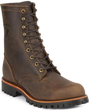 "Chippewa Lug Sole 8"" Lace-Up Work Boots - Round Toe"