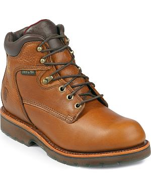 "Chippewa Waterproof 6"" Lace-Up Work Boots - Round Toe"