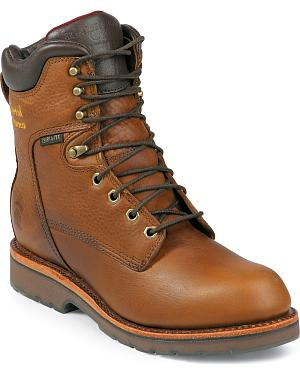 "Chippewa Waterproof 8"" Lace-Up Work Boots - Steel Toe"