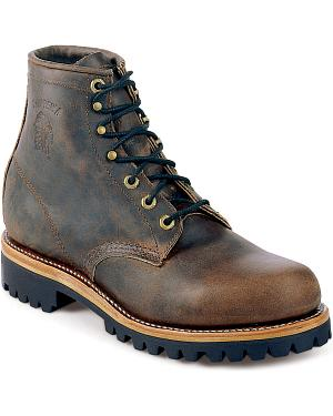 "Chippewa Classic Crazy Horse 6"" Lace-Up Work Boots - Round Toe"