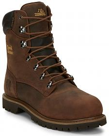 "Chippewa Heavy Duty Waterproof & Insulated Aged Bark 8"" Work Boots - Steel Toe"