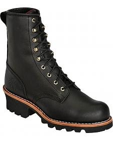 "Chippewa 8"" Lace-Up Logger Boots - Round Toe"