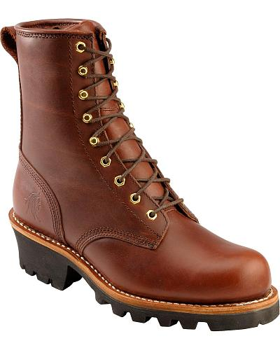 "Chippewa 8"" Lace-Up Logger Boots Steel Toe Western & Country 73031"