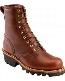 "Chippewa 8"" Lace-Up Logger Boots - Steel Toe"