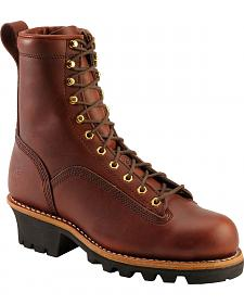 "Chippewa Oiled Redwood 8"" Logger Boots - Round Toe"