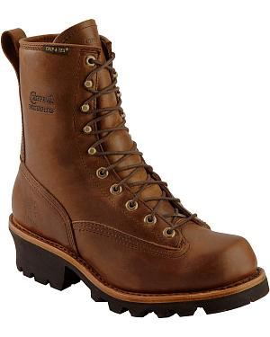 "Chippewa Lace-Up Waterproof 8"" Logger Boots - Steel Toe"