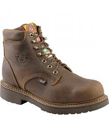 "Justin J-Max Rugged Gaucho 6"" Lace-Up Work Boots - Steel Toe"