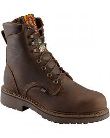 """Justin Rugged Gaucho 8"""" Lace-Up Work Boots - Steel Toe"""