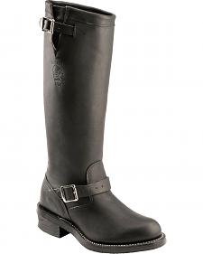 Chippewa Black Odessa Engineer Boots - Round Toe
