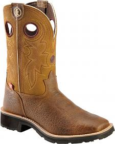 Tony Lama 3R Russet Pull-On Work Boots - Square Toe