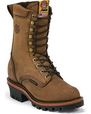 "Justin J-Max Waterproof 10"" Lace-Up Work Boots - Round Toe"