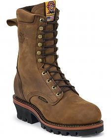"Justin J-Max Waterproof 10"" Lace-Up Work Boots - Steel Toe"
