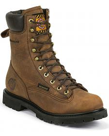 """Justin Original 8"""" Waterproof Lace-Up Worker Boots - Round Toe"""