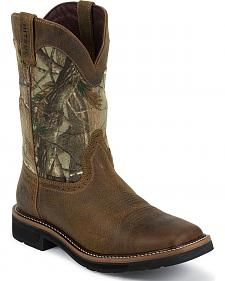 Justin Stampede Waterproof Camo Pull-On Work Boots - Square Composition Toe