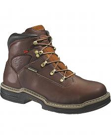 "Wolverine Buccaneer 6"" Waterproof Lace-Up Work Boots - Steel Toe"