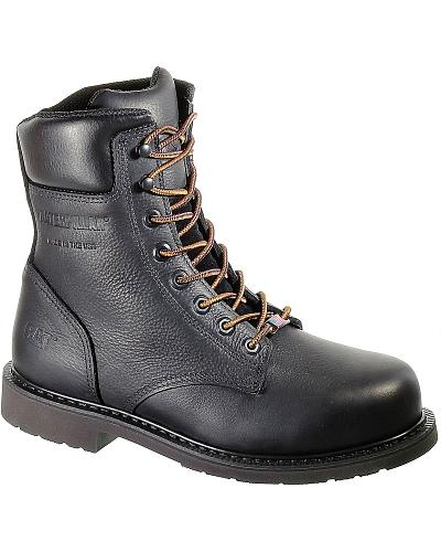 Caterpillar 8 Liberty Black Lace Up Work Boots Steel Toe