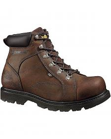 "Caterpillar 6"" Mortar Lace-Up Work Boots - Steel Toe"