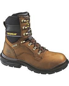 "Caterpillar 8"" Generator Waterproof & Insulated Lace-Up Work Boots - Steel Toe"