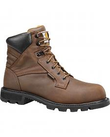 "Carhartt Waterproof 6"" Lace-Up Work Boots - Steel Toe"