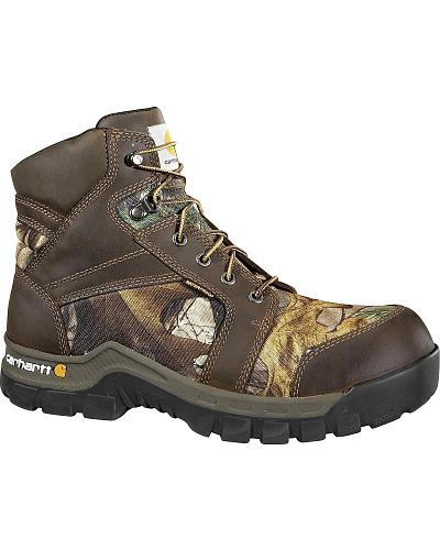"Carhartt Waterproof Camo 6"" Lace-Up Work Boots Composition Toe Western & Country CMF6375"