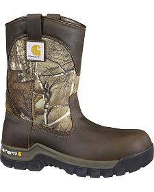 Carhartt Waterproof Camo Pull-On Wellington Work Boots - Composition Toe