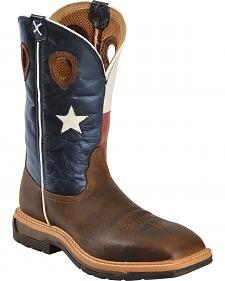 Twisted X Lite Texas Flag Pull-On Work Boots - Square Toe