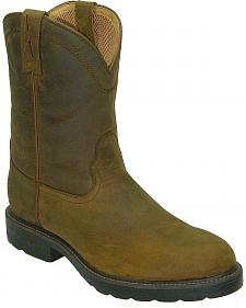 Twisted X Distressed Pull-On Work Boots - Steel Toe