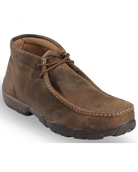 Twisted X Driving Lace-Up Moccasin Shoes - Steel Toe