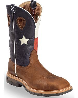 Twisted X Lite Texas Flag Pull-On Work Boots - Steel Toe