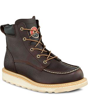 "Red Wing Irish Setter Ashby Wedge 6"" Lace-Up Work Boots - Aluminum Safety Toe"