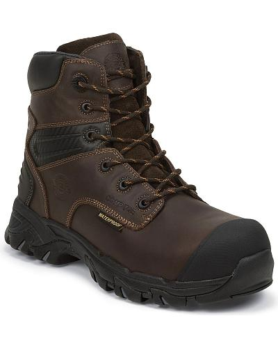 "Justin Work Tek 6"" Waterproof Lace-Up Work Boots Composition Toe Western & Country WK104"