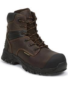 "Justin Men's Work Tek 6"" Waterproof Lace-Up Work Boots - Composition Toe"