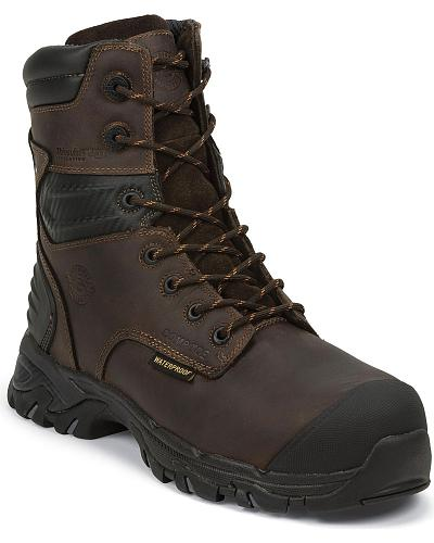 "Justin Work Tek 8"" Waterproof Insulated Lace-Up Work Boots Composition Toe Western & Country WK109"