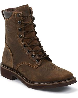 "Justin Stampede 8"" Lace-Up Waterproof Work Boots - Composition Toe"