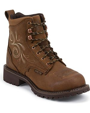 "Justin Gypsy Waterproof 6"" Lace-Up Work Boots - Steel Toe"