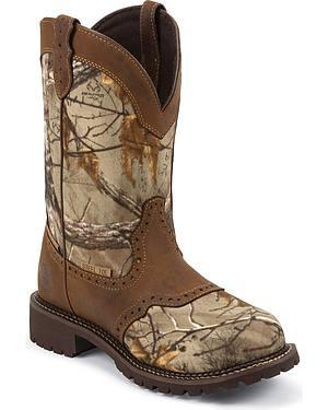 Justin Gypsy Waterproof Nylon Saddle Vamp Work Boots - Steel Toe