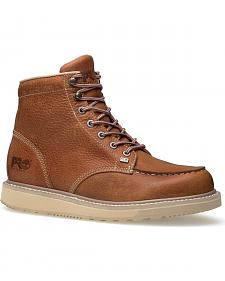 "Timberland Pro Barstow 6"" Lace-Up Wedge Work Boots - Round Toe"