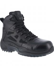 "Reebok Stealth 6"" Lace-Up Side Zip Work Boots - Composition Toe"
