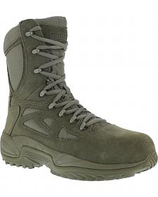 "Reebok Stealth 8"" Lace-Up Side-Zip Work Boots - Composition Toe"