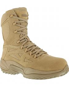 "Reebok Men's Stealth 8"" Lace-Up Side-Zip Desert Khaki Work Boots - Composition Toe"