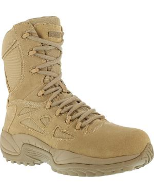 "Reebok Stealth 8"" Lace-Up Side-Zip Desert Khaki Work Boots - Composition Toe"