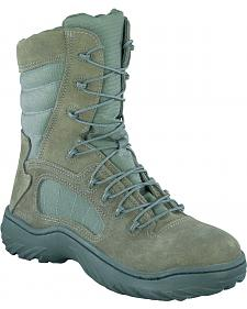 "Reebok 8"" Lace-Up Side Zip Tactical Work Boots - Steel Toe"