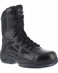 "Reebok Stealth 8"" Lace-Up Black Side-Zip Work Boots"