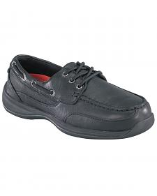 Rockport Works Sailing Club Black Boat Shoes - Steel Toe