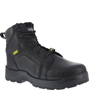"Rockport More Energy Black 6"" Lace-Up Work Boots - Composition Toe"