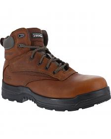 "Rockport More Energy Deer Tan 6"" Lace-Up Work Boots - Composition Toe"