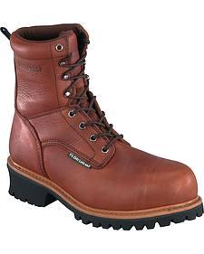 """Florsheim Men's Lumberjack 9"""" Composite Toe Waterproof Logger Boots"""